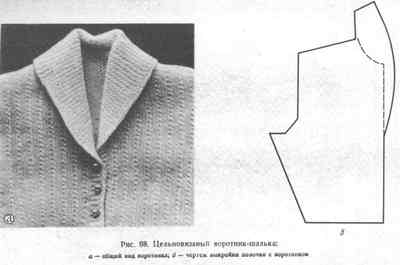 Цельновязаный воротник-шалька