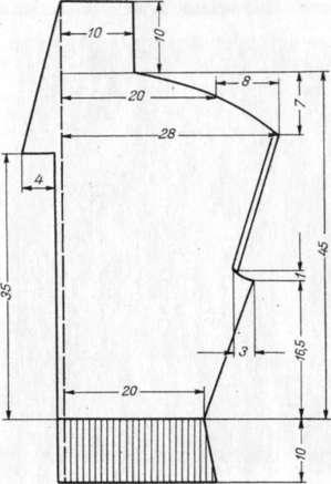 Чертеж выкройки кофточки с продольными ажурными полосками