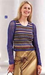 Пуловер с сетчатыми рукавами