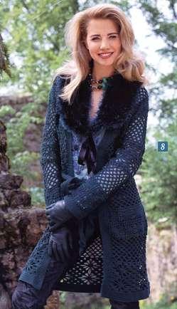 Кружевное пальто с пушистым воротником