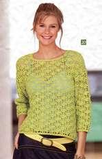 Фисташковый пуловер с цветочным узором