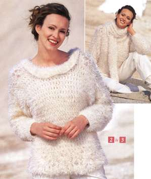 Пушистый пуловер и шарф