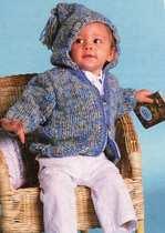 Пуловер, жакет с капюшоном и пинетки