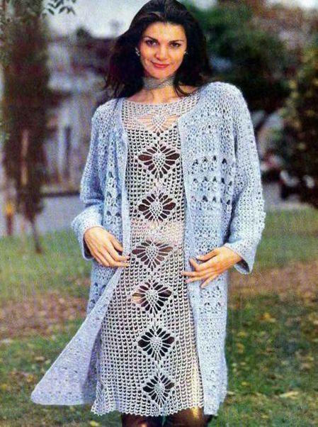Вязаные теплые платья крючком