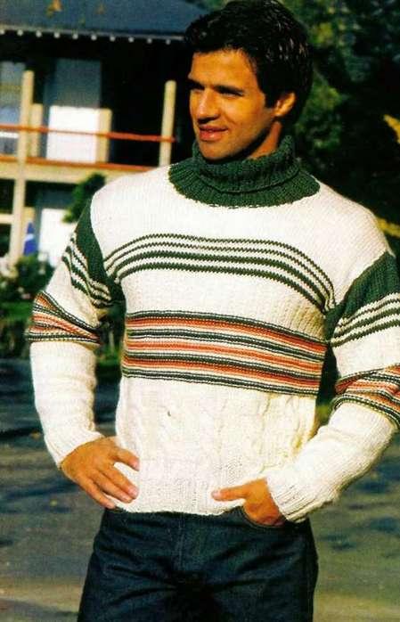 Мужской свитер: Полосы и жгуты