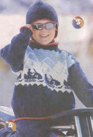 Детский пуловер с вышивкой и шапочка