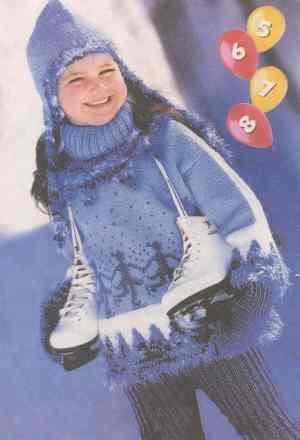 Детские пуловер, воротник, шапочка, варежки и штанишки