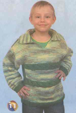 Детский пуловер с горизонтальными косами
