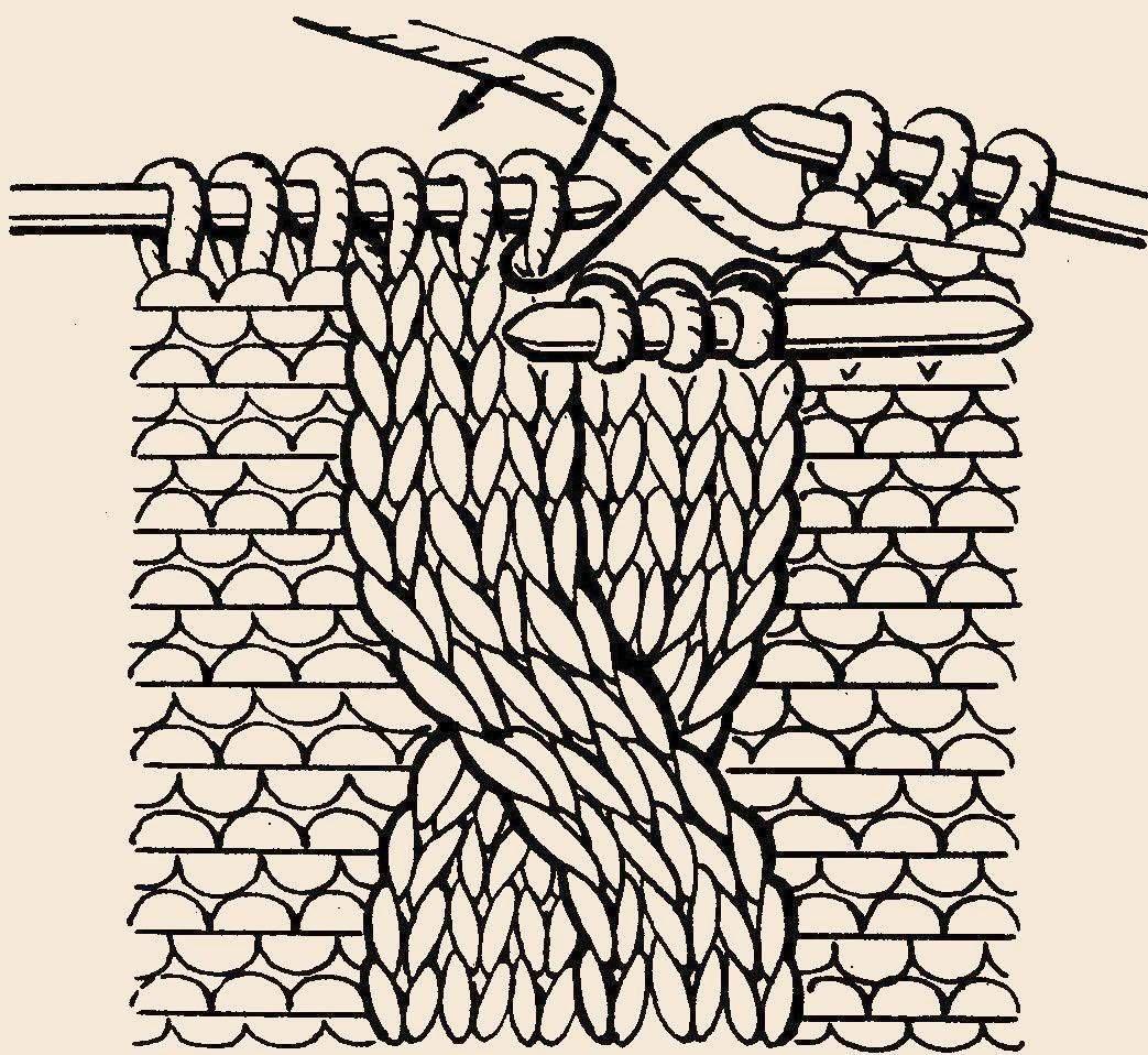 Вязание спицами. жгут. схема 334