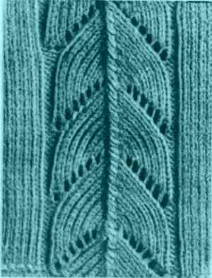 Узор ажурной мережки для кофточки с продольными полосками
