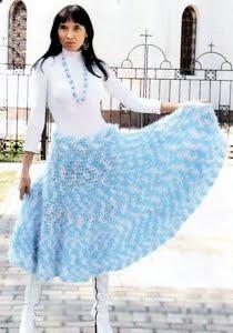 Широкая вязаная юбка-сарафан