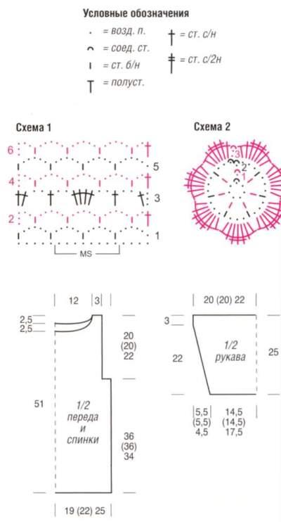 Схема Пуловер с цветочной каймой и с бахромой